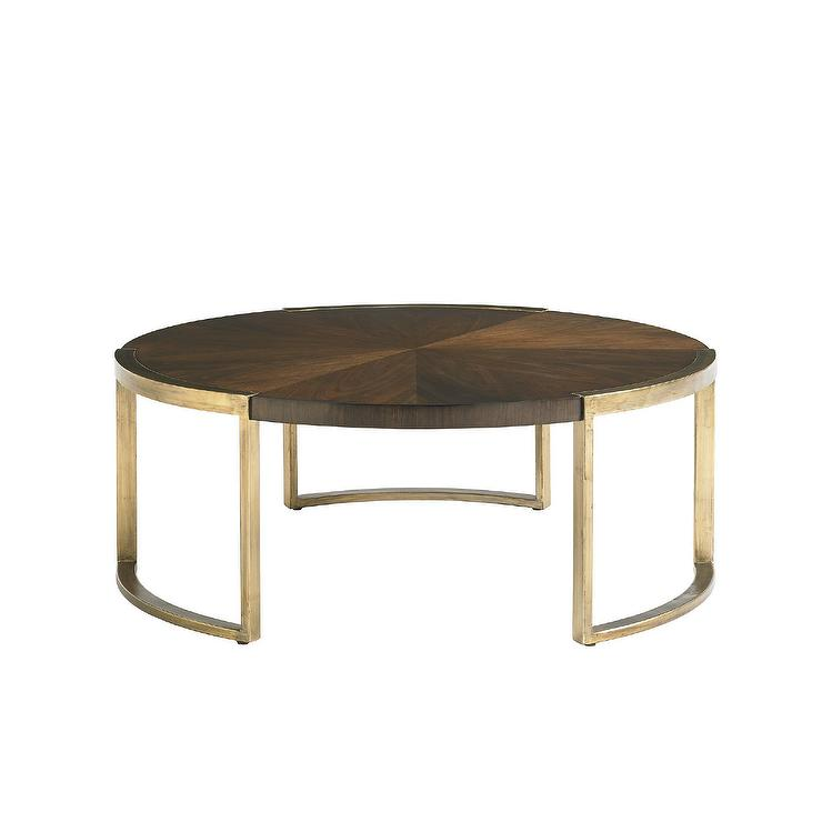 Gold Metal Round Coffee Table.Crestaire Autry Round Wood Coffee Table