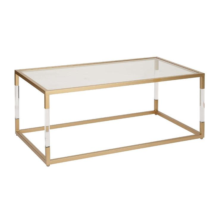 Rectangular Gold Acrylic Glass Coffee Table