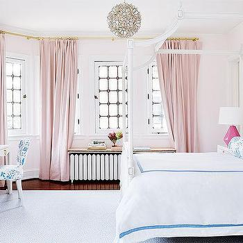 Amie Corley Interiors  Pink Girl Bedroom with Blue Bedding
