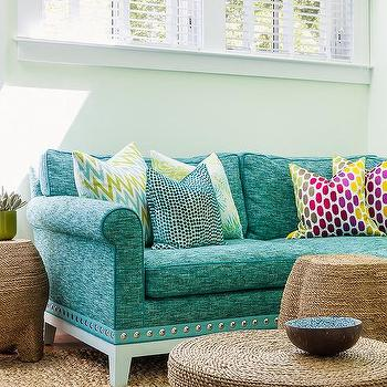 Turquoise Blue Roll Arm Living Room Sofa Design Ideas