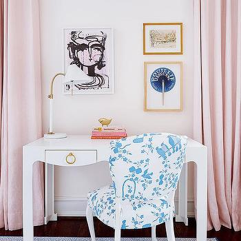 Amie Corley Interiors  Pink Girl Room with White Desk