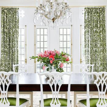 Amie Corley Interiors  White and Green Dining Room with Chippendale Chairs
