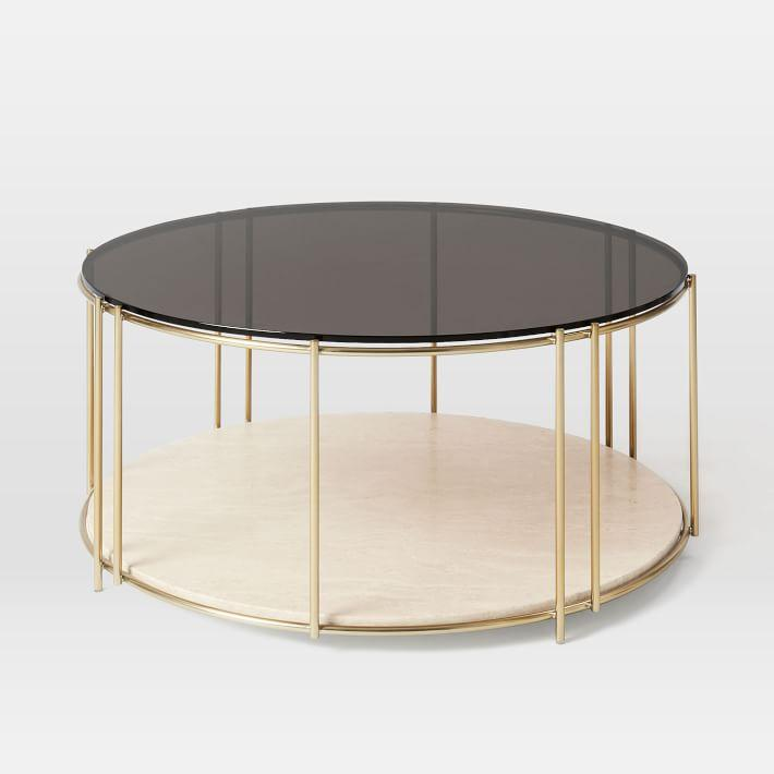 Circular Gold Glass Coffee Table: Clara Gold Coffee Table