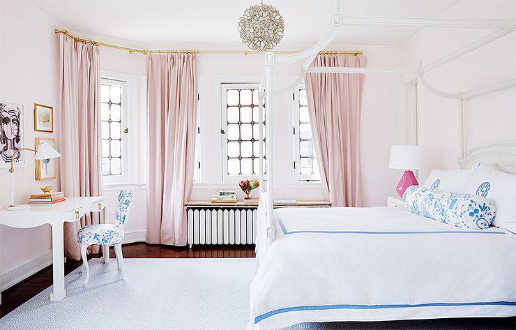 Pink Girl Bedroom with Blue Bedding - Transitional