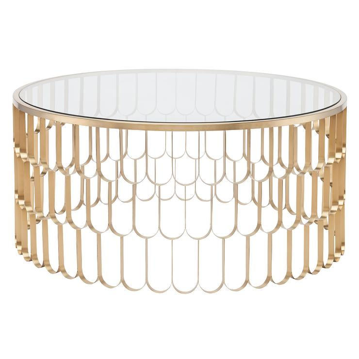 Circular Gold Glass Coffee Table: Jewel Round Gold Scale Coffee Table