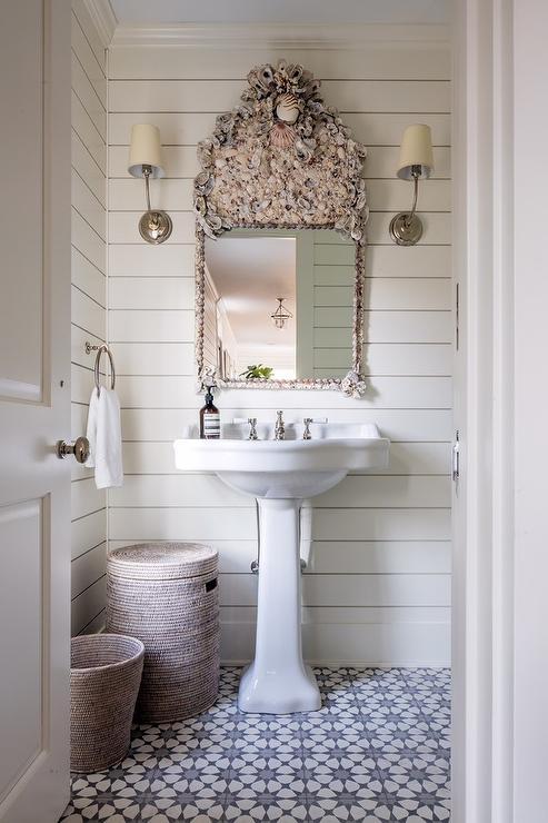 Seashell Wallpaper Cottage Bathroom Lynn Morgan Design