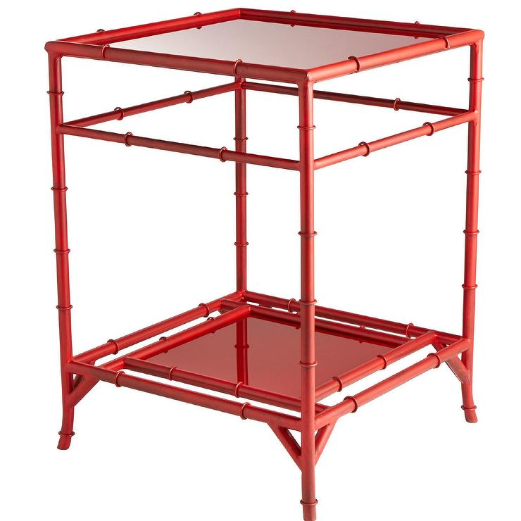 Akira Square Red End Table