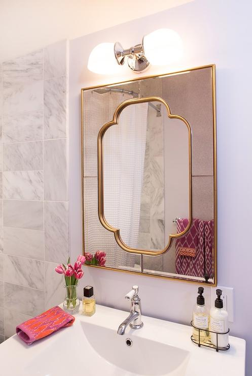 Gold Bath Mirror Transitional Bathroom