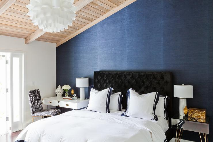 Black Velvet Tufted Headboard With Navy Blue Border Bedding