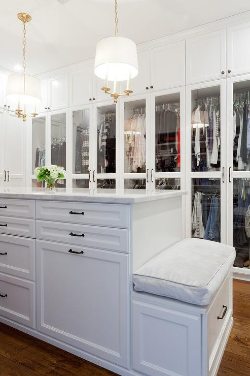 Glass Top Closet Island With 12 Drawers Transitional