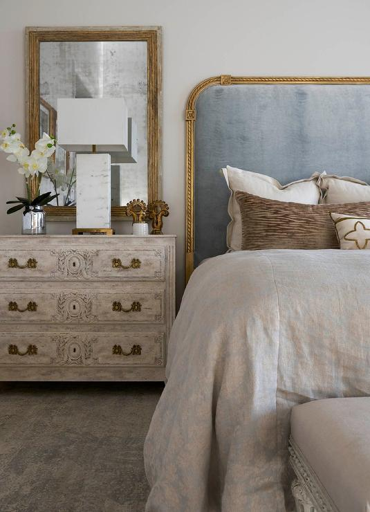 French BLue Velvet Headboard With Gold Trim French Bedroom - French blue bedroom design
