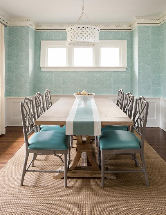 Gray And Turquoise Blue Dining Room