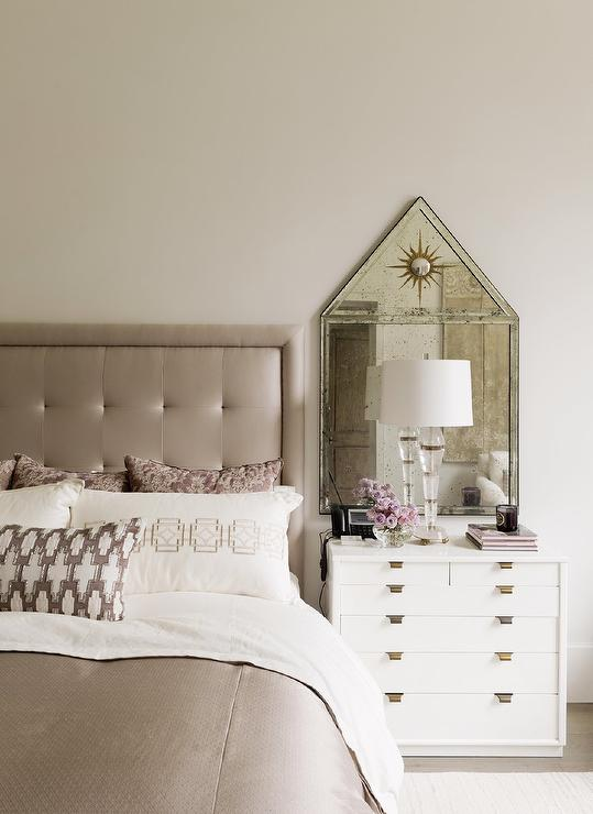 Taupe Silk Tufted Headboard With White Nightstand