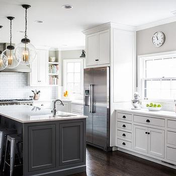 White Cabinets with Charcoal Gray Kitchen Island ...