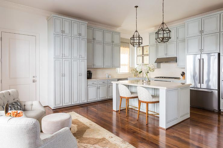 Light blue kitchen cabinets with off white quartz for Light blue kitchen white cabinets