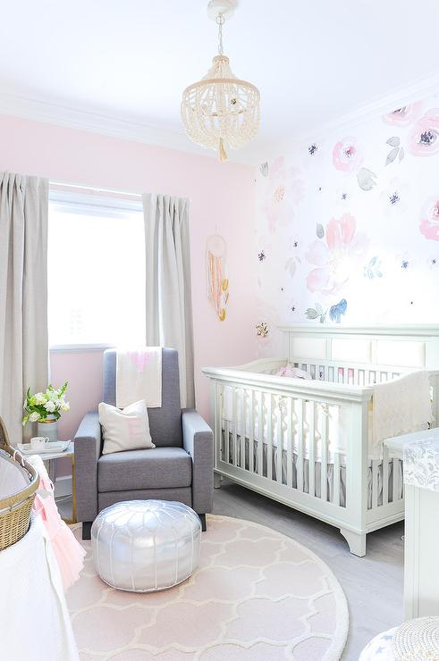 Beautiful Round Pink Trellis NUrsery Rug With Gray Glider