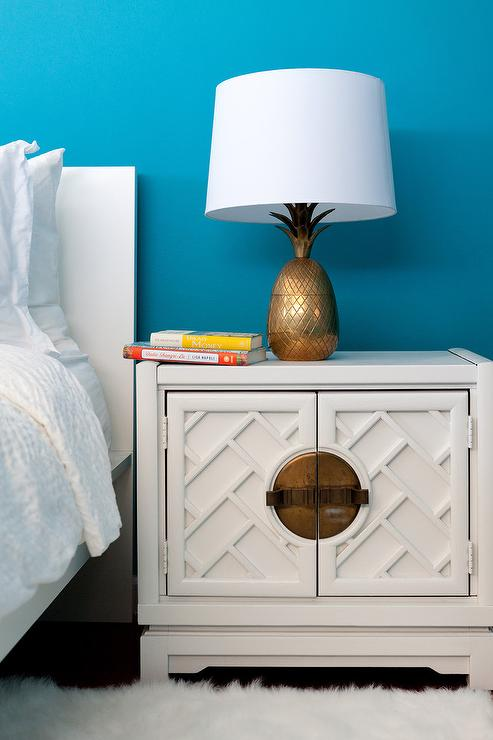 White Bamboo Cabinet Nightstand with Gold Pineapple Lamp ...