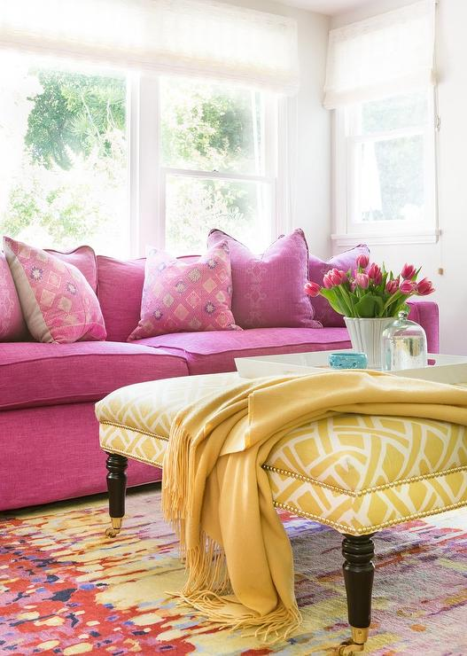 Hot Pink Sofa with Yellow Trellis Ottoman - Contemporary - Living Room