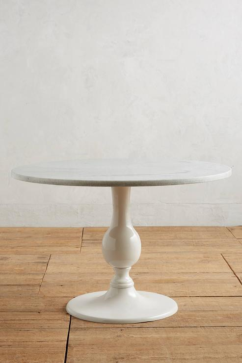 Round Dining Table White Marble Top Full Size Round