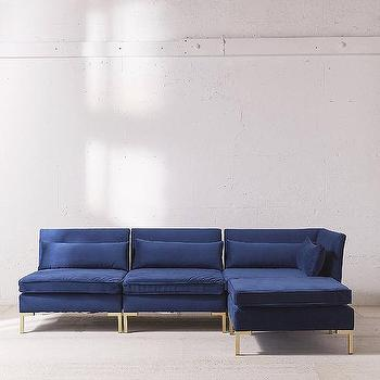 Gold velvet sofa sven u0027grass greenu0027 sectional i for Gold velvet sectional sofa