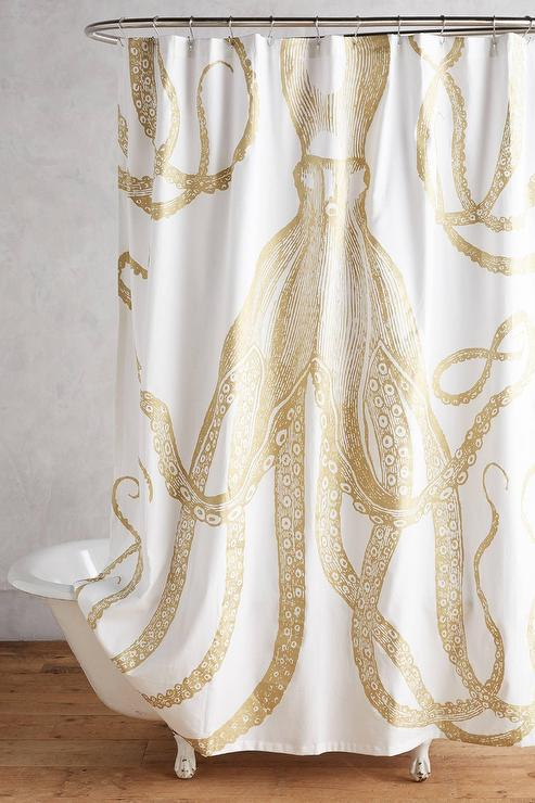 gold and silver shower curtain. Golden Octopus Shower Curtain