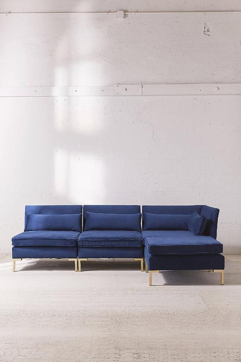 Tremendous Cecilia Blue Velvet Sectional Sofa Pabps2019 Chair Design Images Pabps2019Com