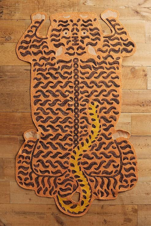 Embroidered Orange Tiger Wool Rug