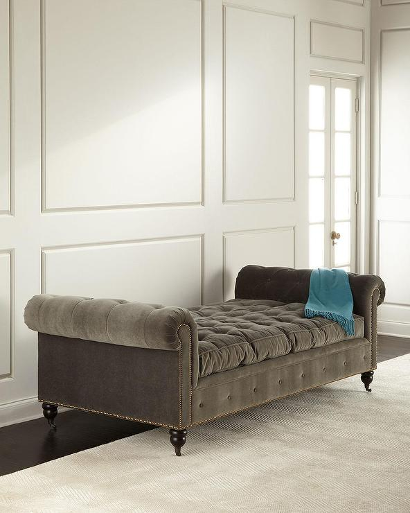 Gray Velvet Button Tufted Elton Daybed