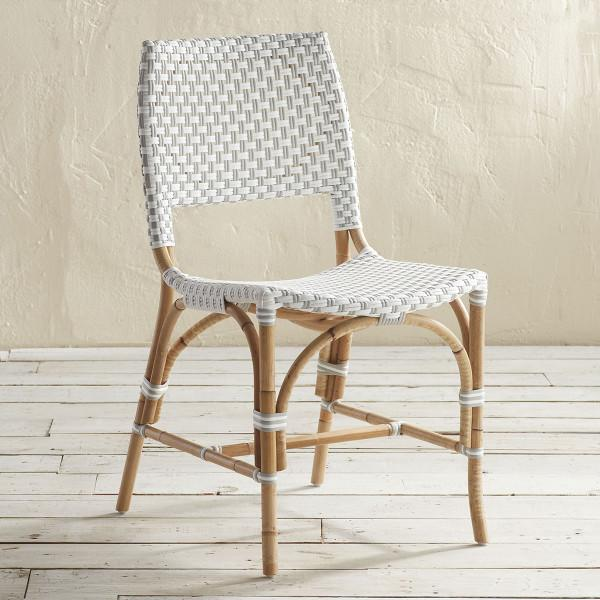 Favorite Clarence White Woven Rattan Side Chair WO52