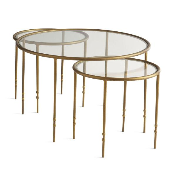 breezy round gold nesting side tables