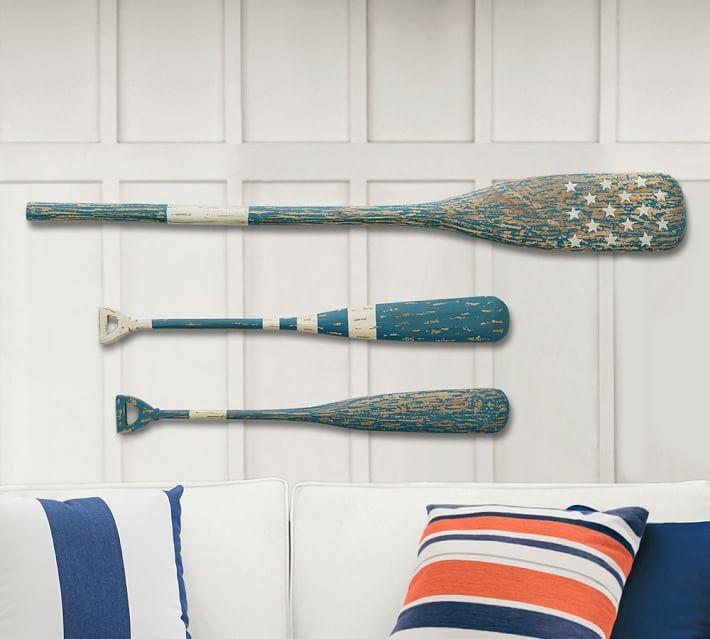 3 Wooden Oars Blue Wall Decor