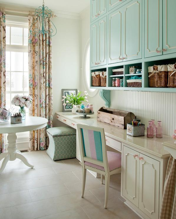 Blue Craft Room Cabinets With Pink Knobs