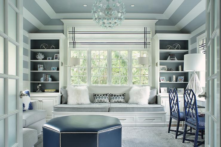 Gray Home Office With Gray Tray Ceiling Transitional