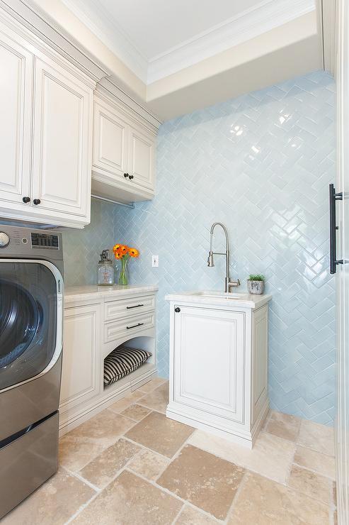 Blue Herringbone Wall Tiles Transitional Laundry Room
