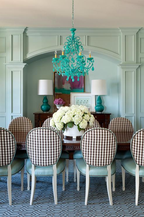 Blue Dining Chairs, Brown And Teal Dining Room