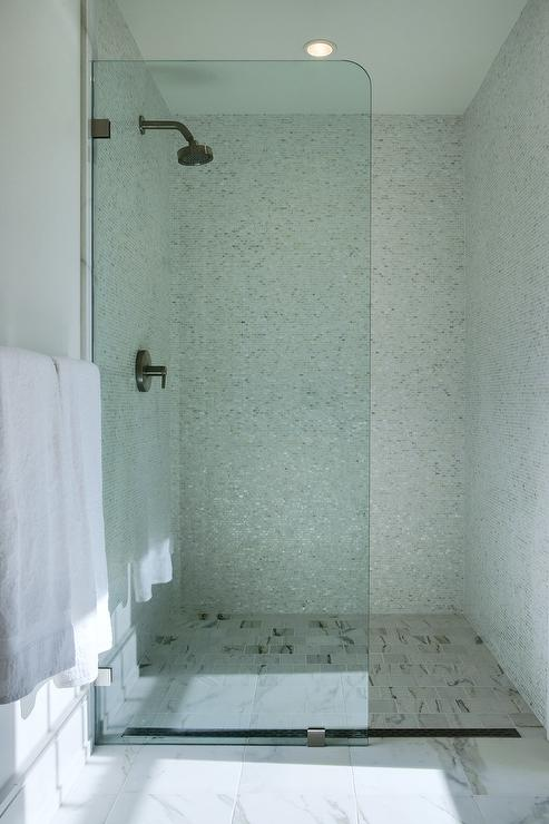 Square Marble Shower Floor Tiles Transitional Bathroom