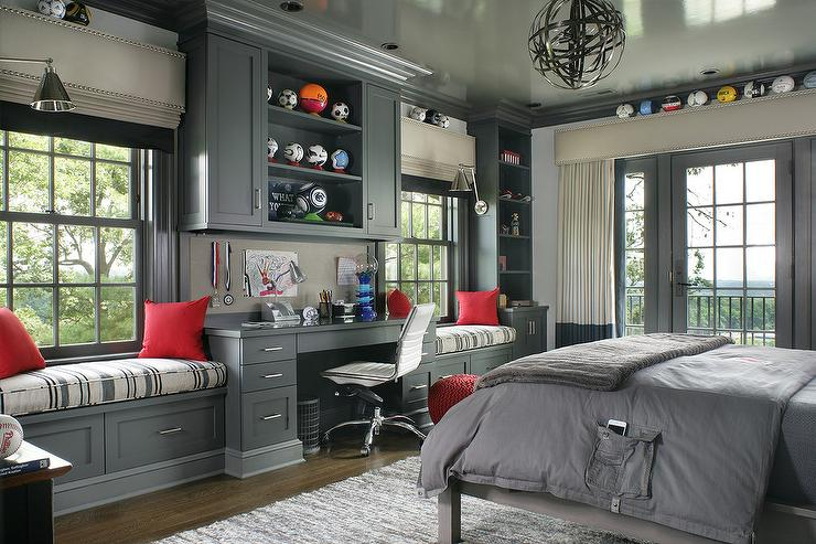 Dark Gray Boy Bedroom With Dual Window Seats