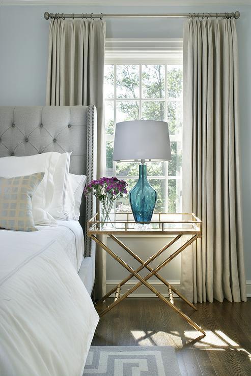 Light Gray Silk French Pleat Bedroom Curtains Design Ideas