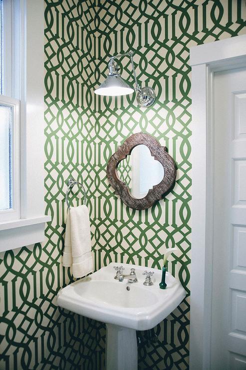 Green Trellis Powder Room Wallpaper