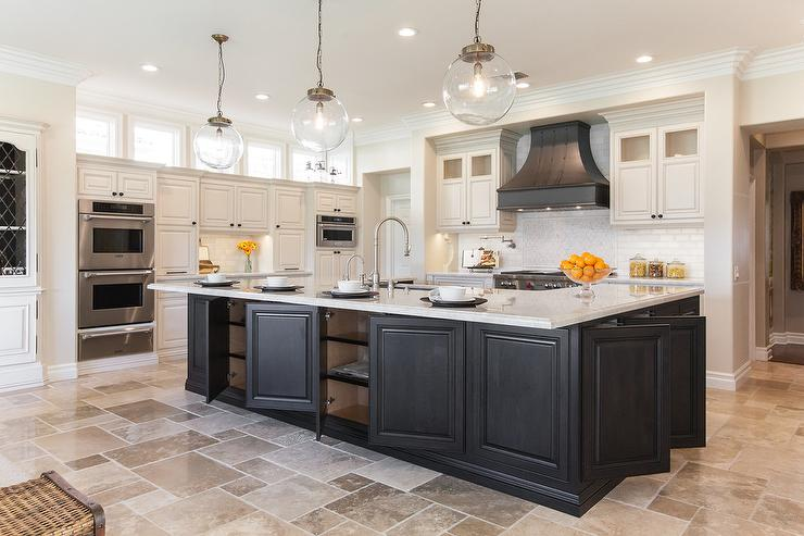 Black Kitchen Island with Storage Cabinets Transitional Kitchen