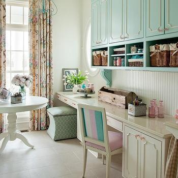 Aqua Blue Craft Room Cabinets Design Ideas