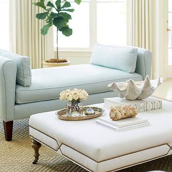 Blue Settee With White Ottoman