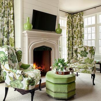 Green Wingback Chairs With Green Octagon Ottoman