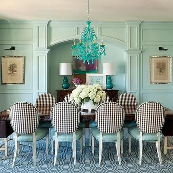 Brown And Turquoise Blue Dining Room