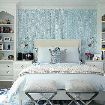 Blue Bedroom With Cream Headboard