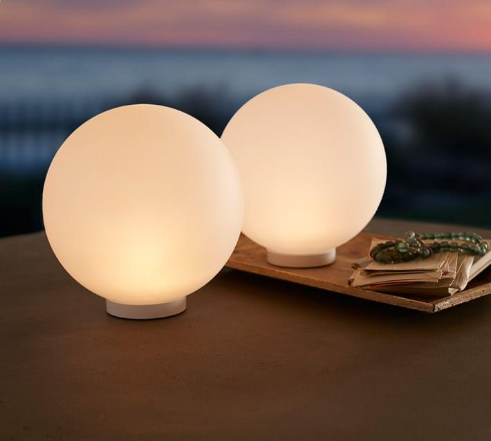 Lit Frosted Orb Globe Table Lighting