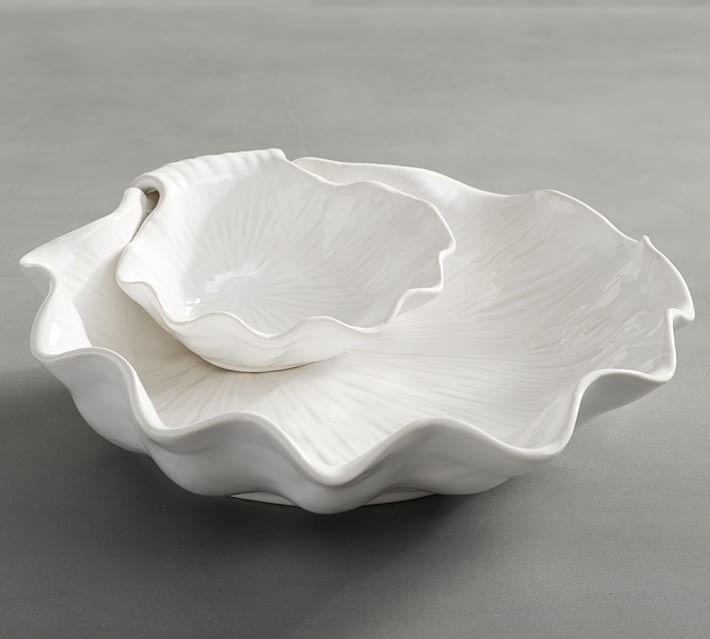 White Ceramic Shell Chip Dip Bowl