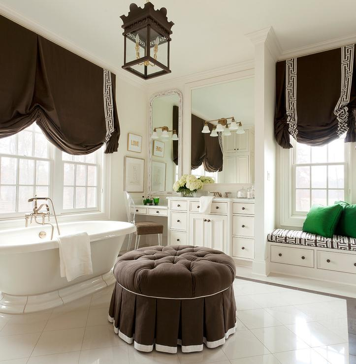 White And Brown Master Bathroom Color Scheme Transitional