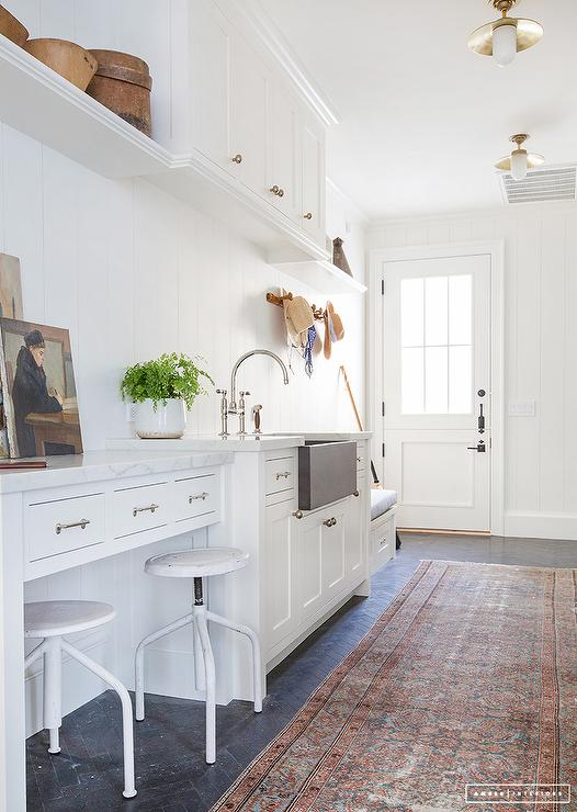 Mudroom Desk Next To Sink Cottage Laundry Room
