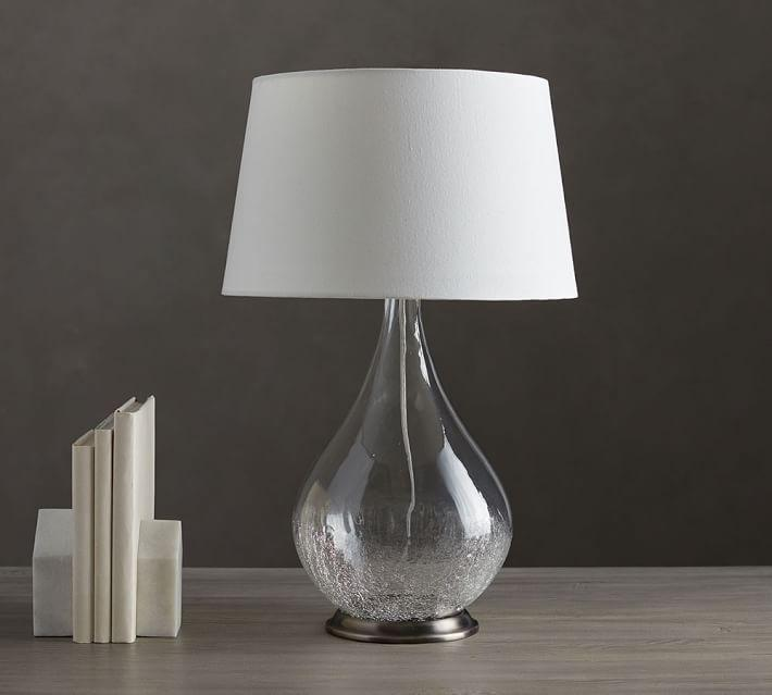 Teardrop glass shade floor lamp products bookmarks design sophia crackled glass table lamp aloadofball Gallery